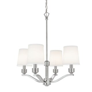 "Norwell Lighting 5614 Roule 4 Light 23"" Wide Chandelier with White Shade"