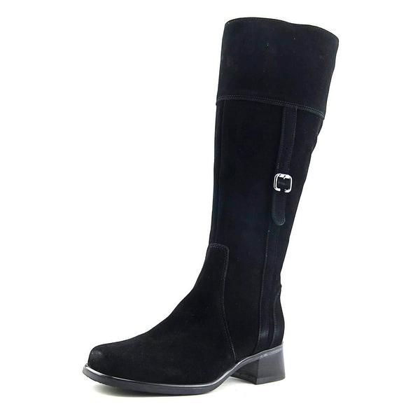 La Canadienne Velvet Women Round Toe Suede Black Mid Calf Boot