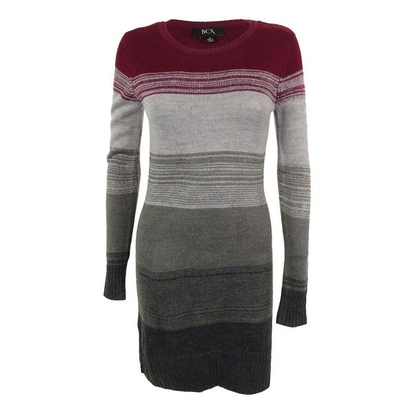 ad762327c0d Shop BCX Juniors  Long Sleeves Striped Sweater Dress - Bordeaux - s - Free  Shipping On Orders Over  45 - Overstock.com - 14817696