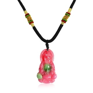 Synthetic Dyed Red Jade Medicine Buddha Pendant Ployester Rope Necklace 20 Inches - Pink