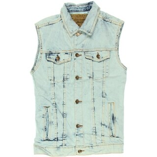 Zara Mens Distressed Faded Denim Vest - S