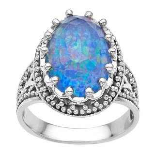 Sajen 10 ct Pacific Blue Opal Quartz Ring in Sterling Silver