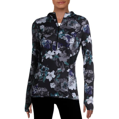 Adidas Stella McCartney Womens Pullover Top Activewear Fitness - Black Floral - M