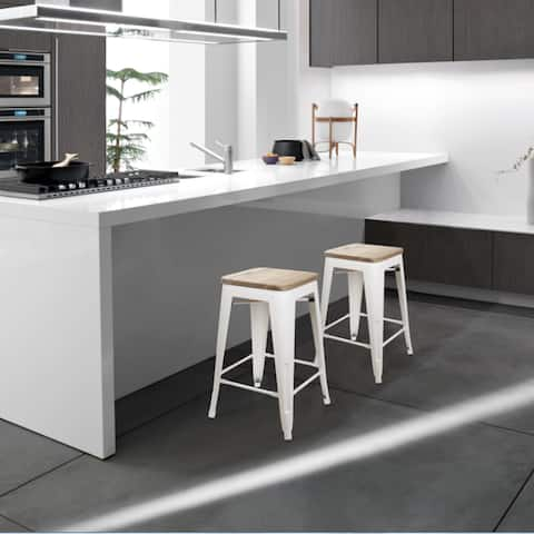 24in Backless Stool-Cream White/Light Wood Bar Metal Stool