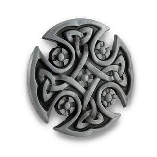 Pewter Finished Celtic Cross Belt Buckle Knotwork