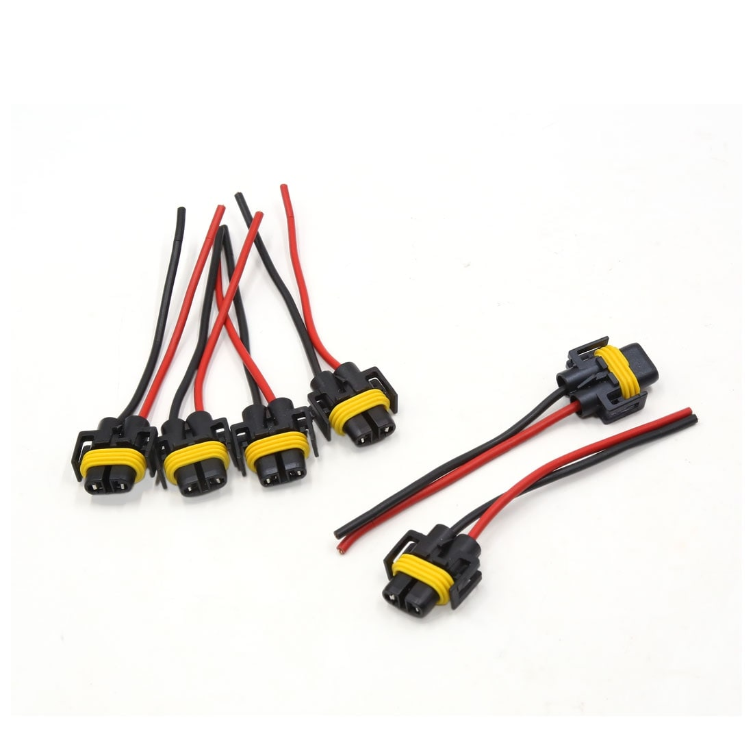 6Pcs Plastic Car H11 Light Lamp Bulb Extension Wiring Harness Socket on