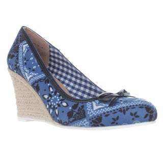 Nina Murial Wedge Espadrille Pumps, Blue Bandana - 6.5 us