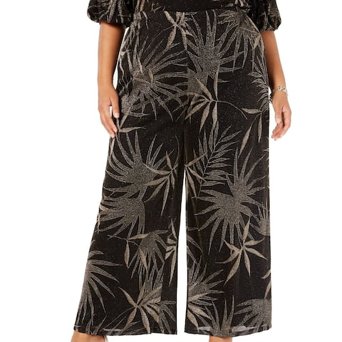MSK Womens Pants Gold Black Size 3X Plus Wide Leg Shimmer Foliage