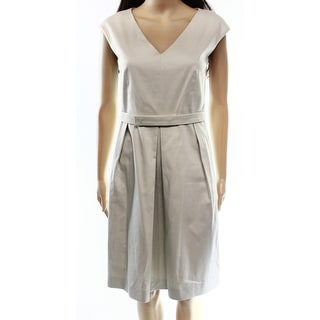 Max Mara NEW Beige Sand Women's Size 10 Belted V-Neck Pleated Dress