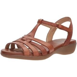 Naturalizer Womens Nanci Leather Open Toe Casual T-Strap Sandals