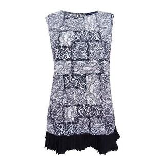 Tommy Hilfiger Women's Lace-Print Ruffle-Hem Shell Top - Black/Vanilla (3 options available)