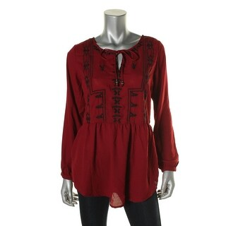 NY Collection Womens Embroidered Peplum Peasant Top