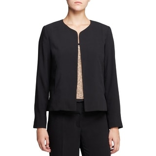 Eileen Fisher Womens Collarless Blazer Silk Lined Open Front