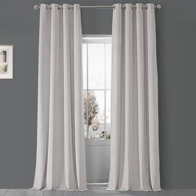 Exclusive Fabrics Porcelain White Grommet Velvet Blkt Curtain Panel