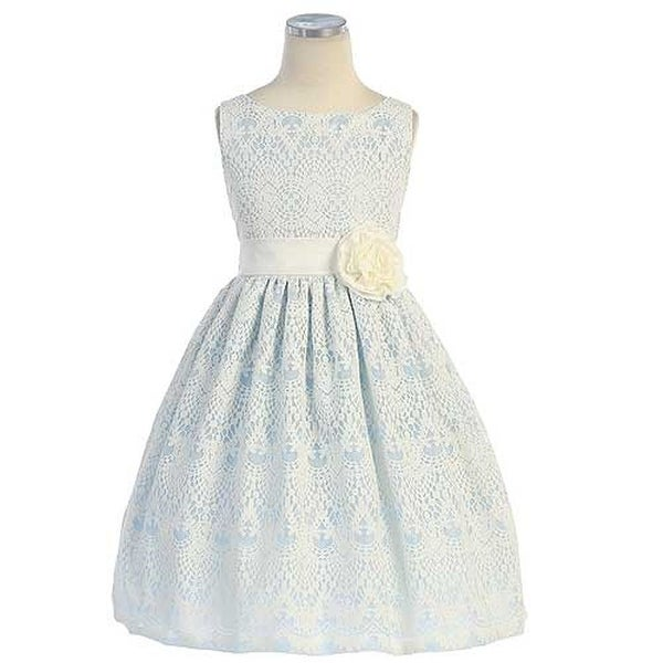 c9205e2c0bbb Shop Sweet Kids Little Girls 5 Blue Vintage Lace Overlay Easter Dress -  Free Shipping Today - Overstock.com - 18166478