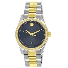 Mens Movado Watch 1 CT Genuine Diamonds 2 Tone Museum Edition 0606483 Analog Gold / Silver