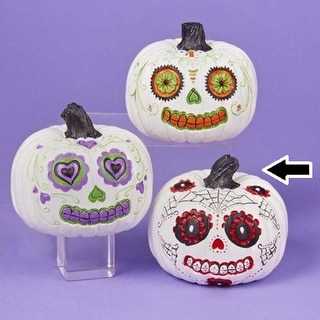 """4"""" Day of the Dead White and Red Pumpkin Halloween Decoration"""