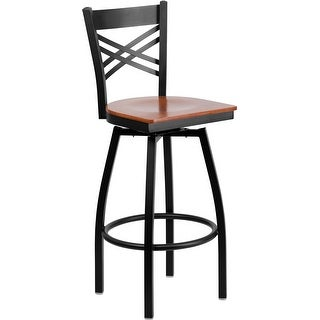 "Dyersburg 30"" High Black ''X'' Style Back Swivel Metal Restaurant/Pub Barstool, Cherry Wood Seat"