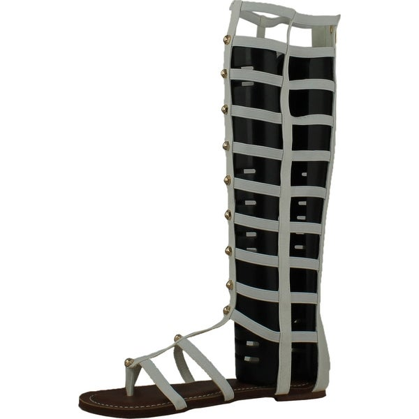 Wild Rose Odelia04 Womens Leatherette Open Toe Studded Knee High Gladiator Sandals - White