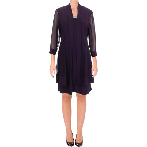 R & M Richards Womens Dress With Jacket Embellished Knee-Length