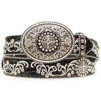 Ariat Western Belt Womens Scroll Rhinestone Conchos Black