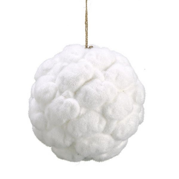 "8"" Winter White Snow Moss Christmas Ball Ornament"