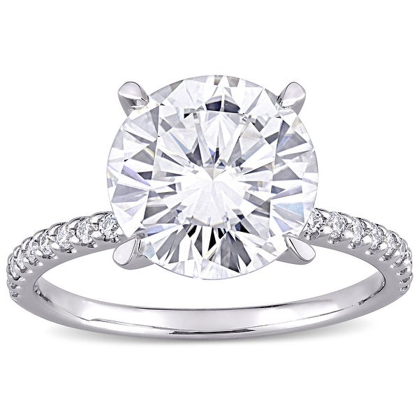 Miadora 4ct DEW Moissanite Solitaire Engagement Ring in 10k White Gold. Opens flyout.
