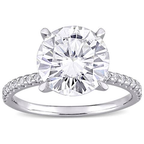 Moissanite by Miadora 10k White Gold 4 1/5ct TGW Moissanite Engagement Ring