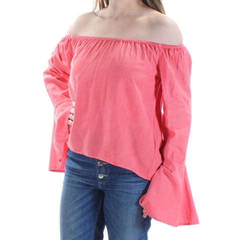BUFFALO Womens Coral Ruched Bell Sleeve Off Shoulder Top Size: S