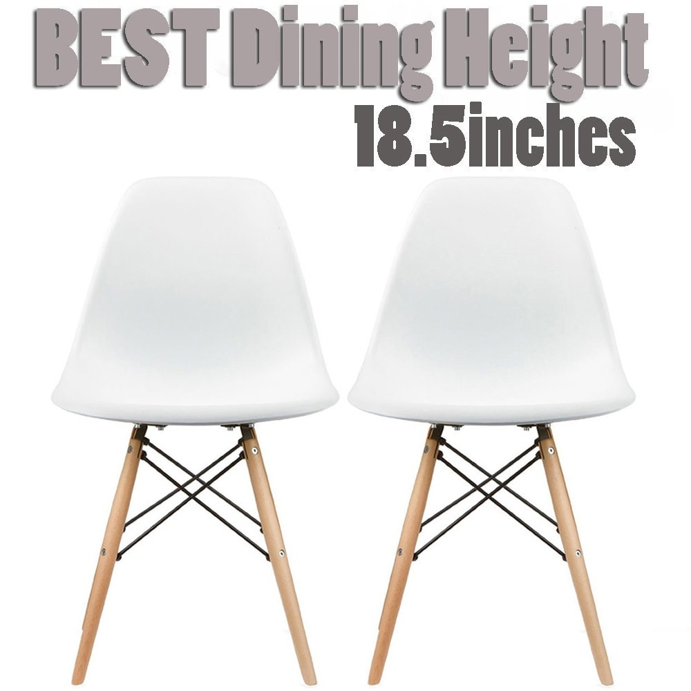 Thumbnail 22, 2xhome Set of 2 Modern Plastic Eiffel Side Dining Chair Colors with Natural Wood Dowel Leg For Kitchen Work Bedroom DSW. Changes active main hero.