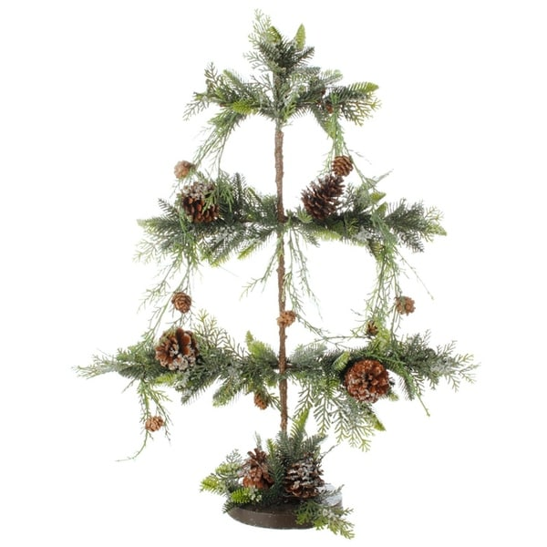 """28"""" Green and Brown Pine Cone Iced Artificial Tree Christmas Table Top Decoration"""