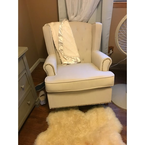 Shop Avenue Greene Baby Relax Nailhead Ivory Wingback Rocker   On Sale    Free Shipping Today   Overstock.com   20187112