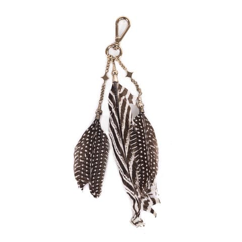 Roberto Cavalli Women' Silver Brown Striped Triple Feather Keychain~RTL$725