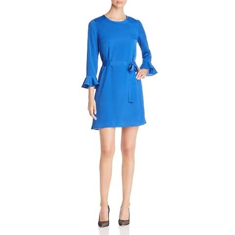 Le Gali Angela Women's Tie Waist Flounce Sleeve Mini Dress - Lapis