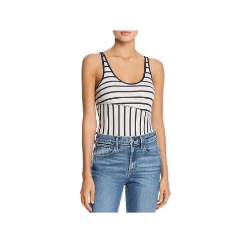 ATM Womens Bodysuit Ribbed Striped - Oatmeal/Midnight