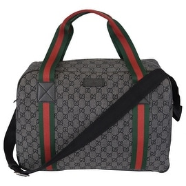 New Gucci 374769 Black Denim GG Guccissima Red Web Duffle Boston Purse Bag