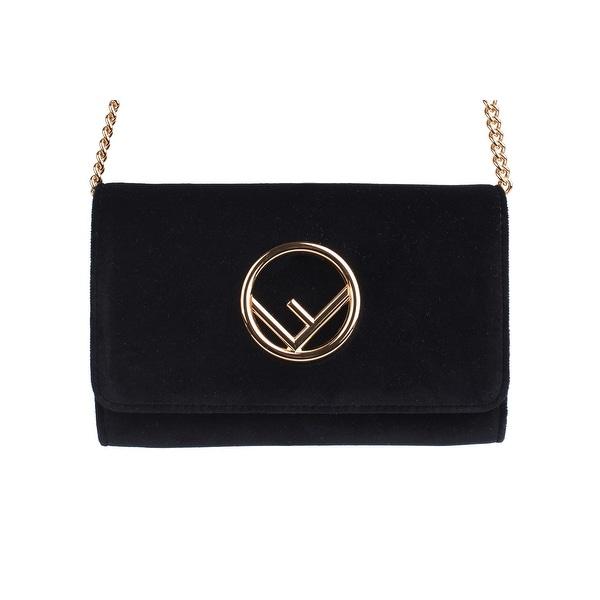 b14bcb0206 Shop Fendi Womens Black Kan I Velvet Gold Chain Small Shoulder Bag ...