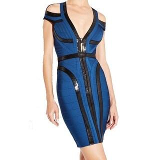 Herve Leger NEW Blue Black Womens Size Medium M Sequined Sheath Dress