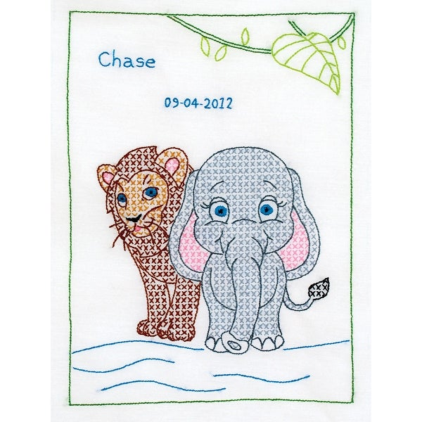 "Stamped White Sampler 11""X14""-Jungle Animals"