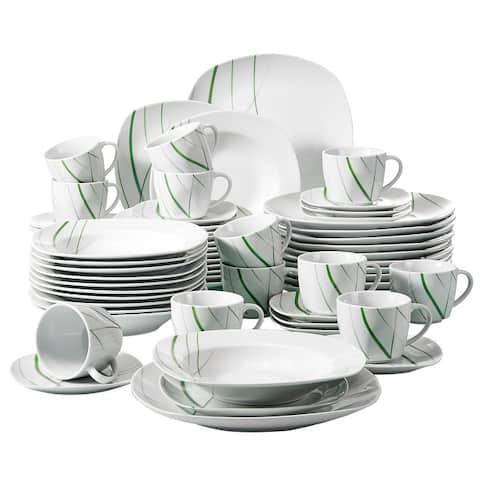 60-Piece Ceramic Dinnerware Set Green Stripe Patterns Plate Sets