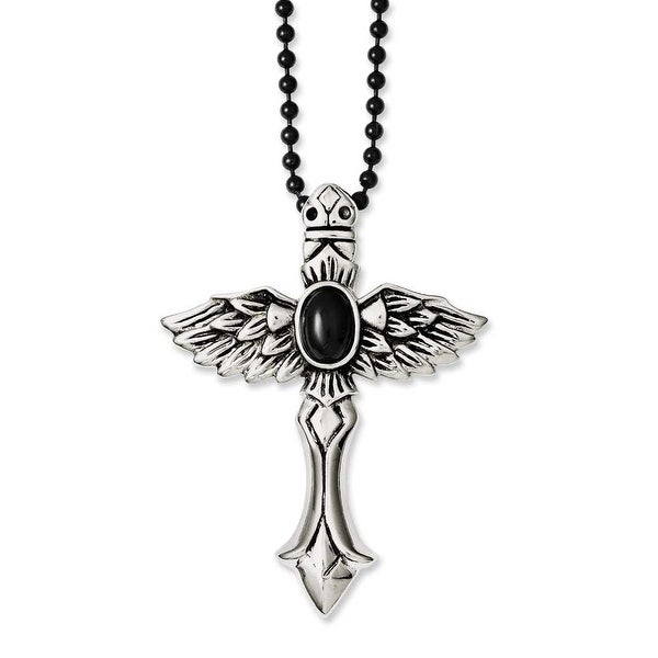 Chisel Stainless Steel Antiqued Cross with Wings & Black Stone 24in Necklace (3 mm) - 24 in
