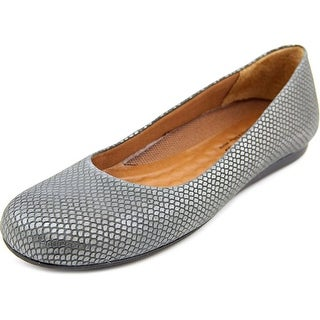Walking Cradles Blue Women N/S Round Toe Leather Gray Flats