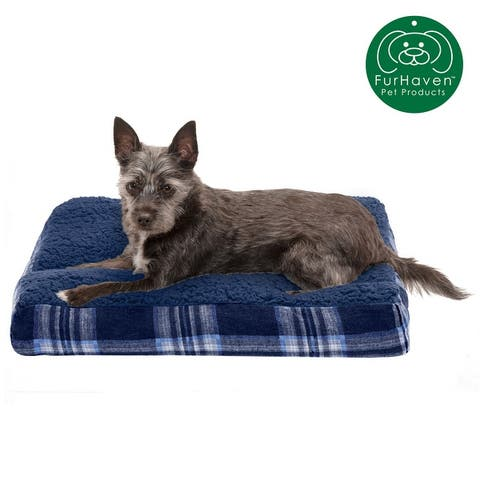 FurHaven Faux Sheepskin and Plaid Deluxe Pillow Pet Bed