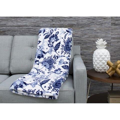 50x70 Jill Jacobean Printed Loft Fleece Decorative Throw
