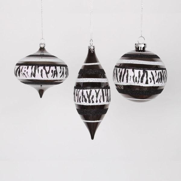 """Set of 3 Diva Safari Zebra Print & Stripes Black and White Christmas Ornaments 7"""""""