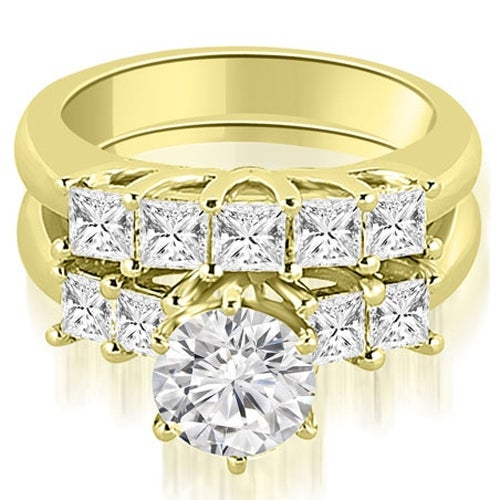 2.00 cttw. 14K Yellow Gold Princess and Round Cut Diamond Engagement Bridal Set