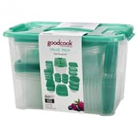 Good Cook 94871 Plastic Food Storage Container Set, Clear/Teal, 50-Piece