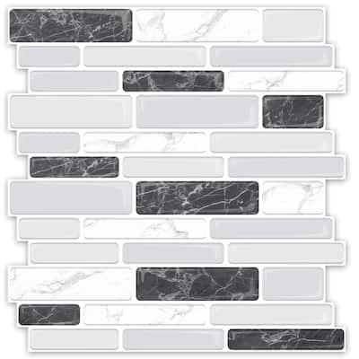 "Art3d Peel and Stick Backsplash Tiles in Marble Design, 12""x12"" (10 Tiles, Thicker Version)"