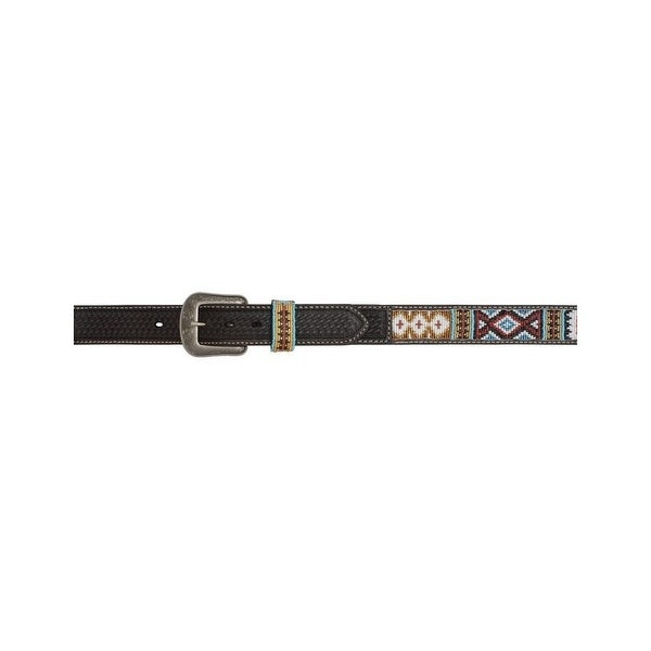 3D Belt Mens Western Leather Aztec Bead Inlay Antique Chocolate