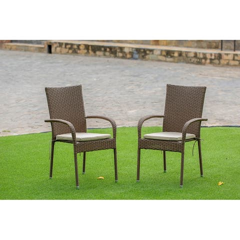 GULC102A Patio Balcony Dining Arm Chair with Brown Wicker Set of 2
